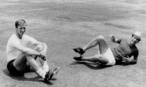 Bobby and Jack Charlton during training for 1970 World Cup in Mexico.