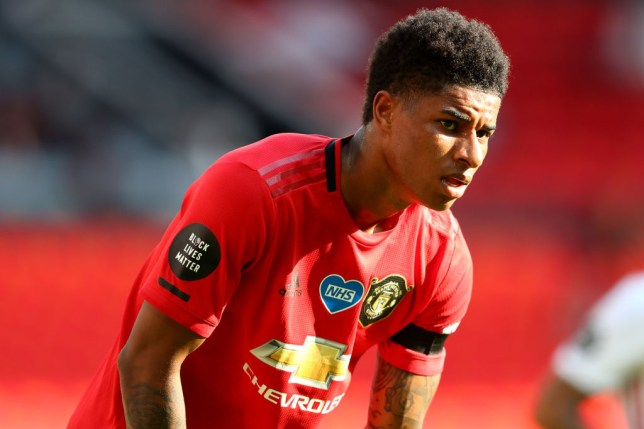 Marcus Rashford of Manchester United during the Premier League match between Manchester United and Sheffield United at Old Trafford on June 24, 2020 in Manchester, England.