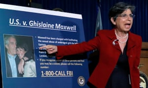 US prosecutor Audrey Strauss points to a photograph of Ghislaine Maxwell with Jeffrey Epstein