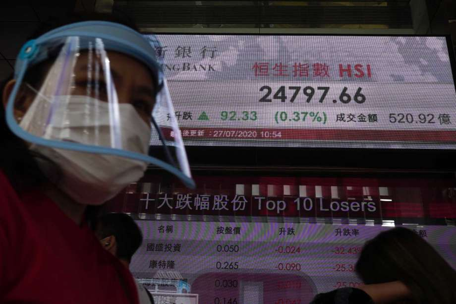 A man wearing a face mask and a shield walks past a bank's electronic board showing the Hong Kong share index at Hong Kong Stock Exchange Monday, July 27, 2020. Asian stock markets were mixed Monday amid U.S.-China tension and concern a recovery from the coronavirus pandemic might be weakening. Photo: Vincent Yu, AP / AP