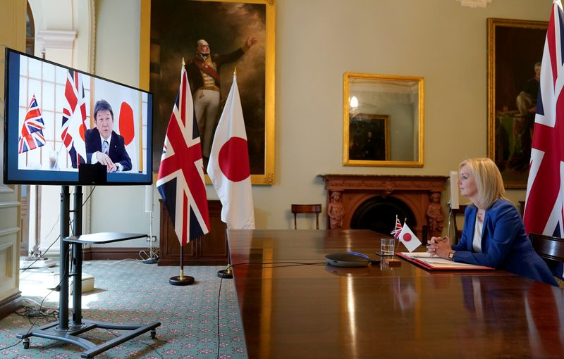 © Reuters. Britain's Secretary of State of International Trade and Minister for Women and Equalities Liz Truss attends a joint videoconference with Japan's Minister for Foreign Affairs Toshimitsu Motegi, in London