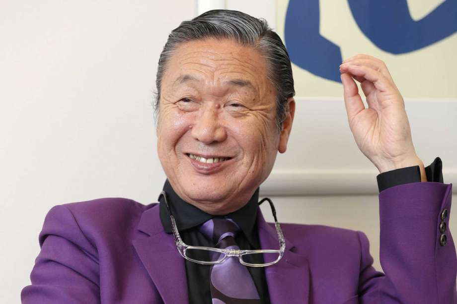 Japanese fashion designer Kansai Yamamoto speaks during an interview in Tokyo, in May, 2017.  Yamamoto, known for his avant-garde and colorful work that included flamboyant costumes of the late rock icon David Bowie has died of leukemia, his company said on Monday, July 27, 2020. He was 76.(Kyodo News via AP) Photo: AP / Kyodo News
