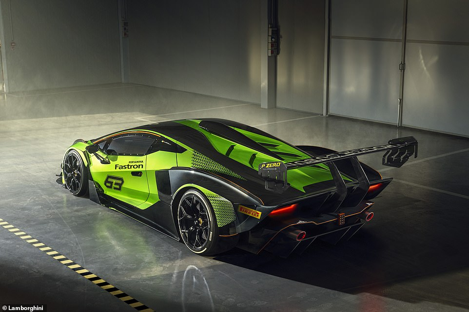 Green machine: Lamborghini has this week revealed its newEssenza SCV12 track car. Just 40 will be built - and there's a very big catch!