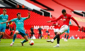 Manchester United's Mason Greenwood pings a shot home to get the hosts back on level terms.