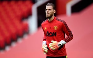 Goalkeeper David de Gea warms up before his 400th appearance for Manchester United.