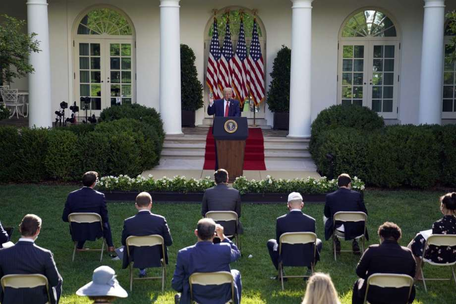 President Donald Trump speaks during a news conference in the Rose Garden of the White House, Tuesday, July 14, 2020, in Washington. Photo: Evan Vucci, AP / Copyright 2020 The Associated Press. All rights reserved