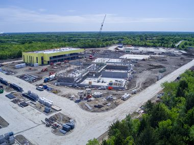 A photo shows construction progress on Mesquite ISD's Innovative Education Center, which is set to welcome students for the 2021-22 school year.