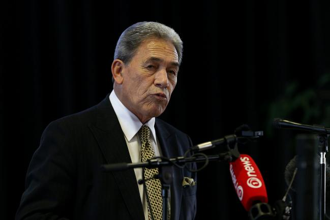 © Bloomberg. INVERCARGILL, NEW ZEALAND - JULY 24: New Zealand First leader Winston Peters speaks at the