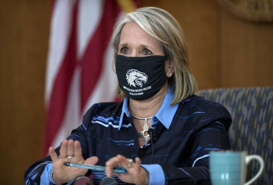 New Mexico Gov. Michelle Lujan Grisham gives her weekly update on COVID-19 and the state's effort to contain it during a virtual news conference from the state Capitol in Santa Fe, N.M., on Thursday, July 23, 2020. (Eddie Moore/The Albuquerque Journal via AP) Photo: Eddie Moore, AP / The Albuquerque Journal