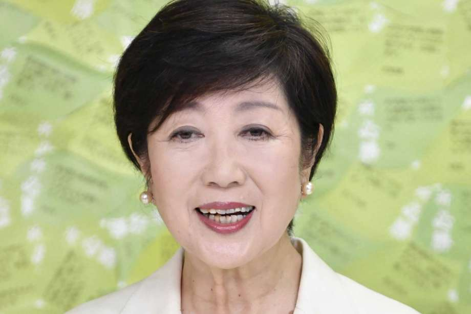Tokyo Gov. Yuriko Koike speaks at a news conference after winning a second term to head the Japanese capital, in Tokyo Sunday, July 5, 2020. (Kyodo News via AP) Photo: 泊宗之, AP / Kyodo News