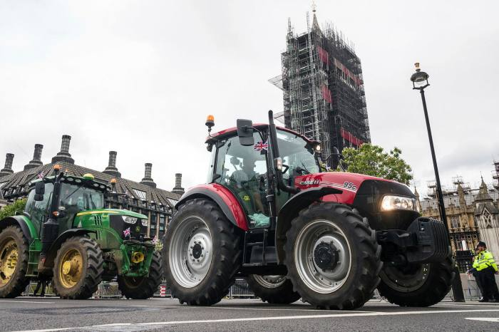 Farmers demonstrate with tractors outside London's Houses of Parliament in July as they demand protection for the UK farming industry