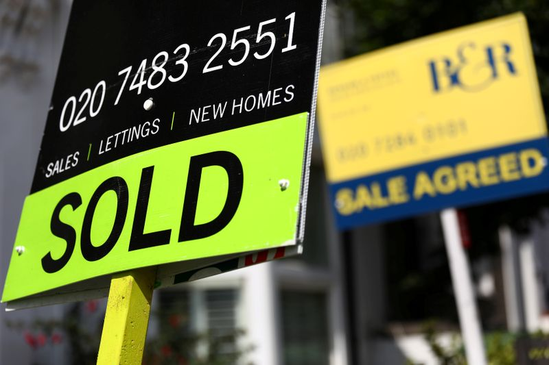 © Reuters. FILE PHOTO: Estate agent boards are displayed outside a property in London