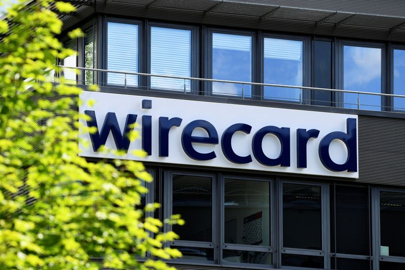 © Reuters. FILE PHOTO: The logo of Wirecard AG is pictured at its headquarters in Aschheim