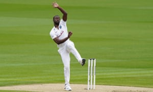 West Indies' Kemar Roach about to launch a delivery.