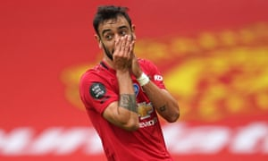 Bruno Fernandes of Manchester United reacts after a missed chance.