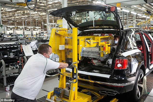 Outputs were down by half in June despite most UK car production facilities operating throughout the month. Bentley in Crewe (pictured) has been building vehicles since 11 May