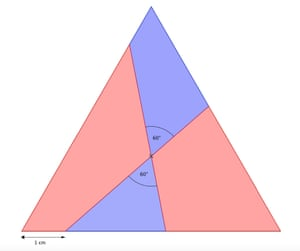 The centre of an equilateral triangle is the point where the vertical down from the top vertex meets the two perpendiculars from the sloping sides (which also go through the other two vertices.)