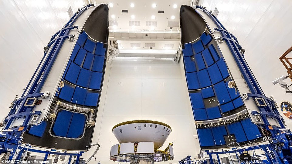Perseverance and Ingenuity will launch inside the United Launch Alliance Atlas V payload fairing (pictured)