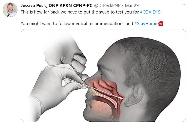 How nasopharyngeal swabs are conducted: Paediatric nurse practitioner Jessica Peck shared a diagram of how the coronavirus test is carried out on Twitter and said: 'This is how far back we have to put the swab to test you for #COVID19. You might want to follow medical recommendations and #StayAtHome'