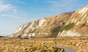 The white cliffs behind Samphire Hoe, Dover, England.
