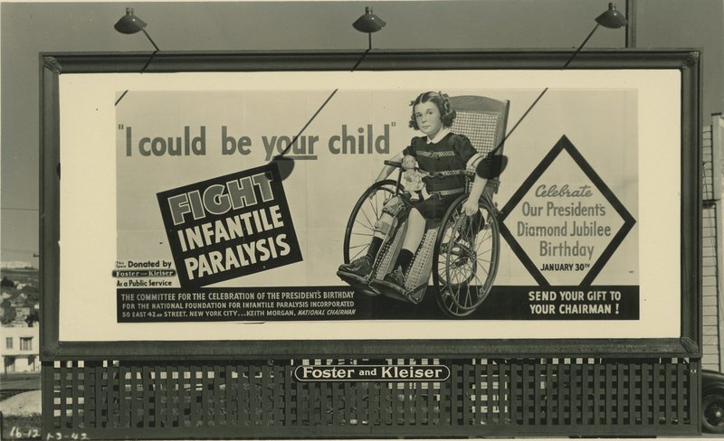 """A billboard reading """"fight infantile paralysis"""""""