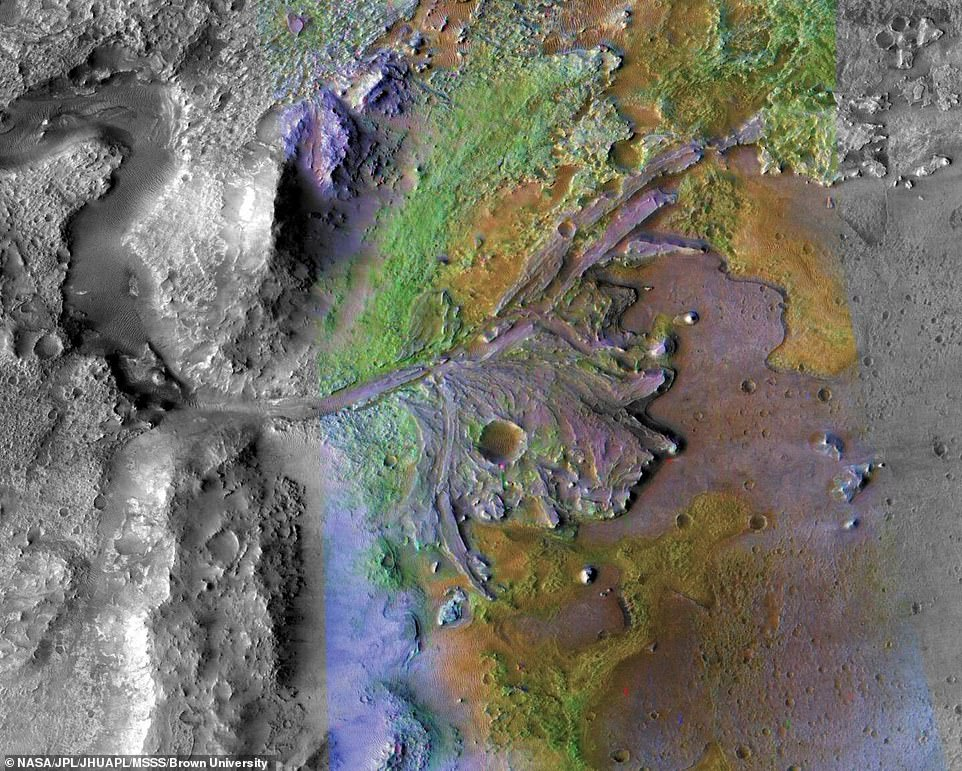 The massive crater is said to have flowed with water and is littered with carbonates and hydrated silica. Carbonates located in the crater's inner rim have been found to survive in fossils on Earth for billions of years and hydrated silica was discovered in the delta that is known for its ability to preserve biosignatures