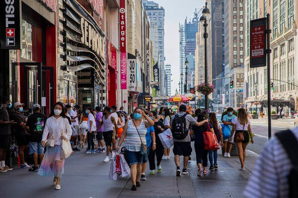Consumer spending is the bedrock of the U.S. economy, but shopping hotbeds like 34th Street in Manhattan have suffered during the pandemic.
