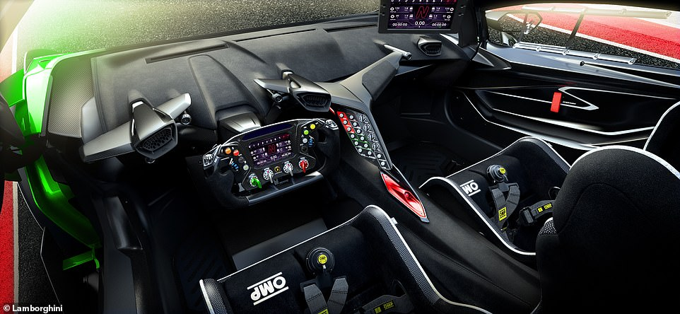 The interior is the full racing spec, with an F1-style steering wheel, bucket seats, five-point harnesses and even a control panel to make intricate adjustments to the throttle and brake response