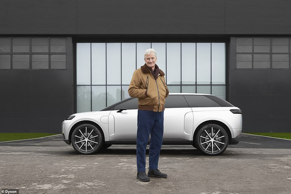 Sir James Dyson poses in front of the production-ready Dyson electric SUV - dubbed project 'N526' - which was axed last year after Britain's richest man said it was not commercially viable