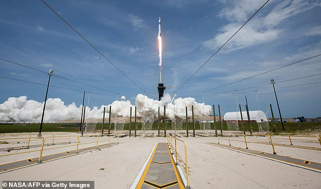 A SpaceX Falcon 9 rocket carrying the company's Crew Dragon spacecraft launched from Launch Complex 39A on NASAs SpaceX Demo-2 mission to the International Space Station with NASA astronauts Robert Behnken and Douglas Hurley onboard on May 31
