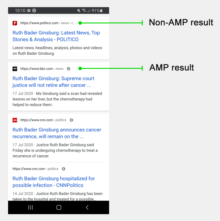 AMP Google search result