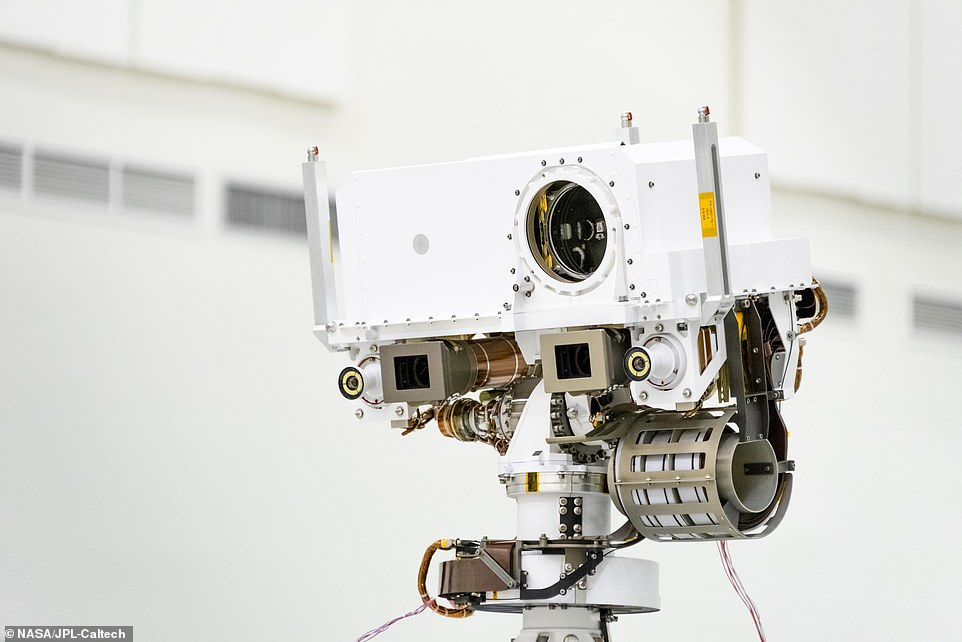The rover will use the high-powered laser called SuperCam at the top of its mast to shoot pulses capable of vaporizing rocks up to 20 feet away.This instrument will help researchers identify minerals that are beyond the reach of the rover's robotic arm or in areas too steep for the rover to go