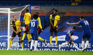 Olivier Giroud of Chelsea takes a free-kick, which doesn't make it any further than the Watford wall.