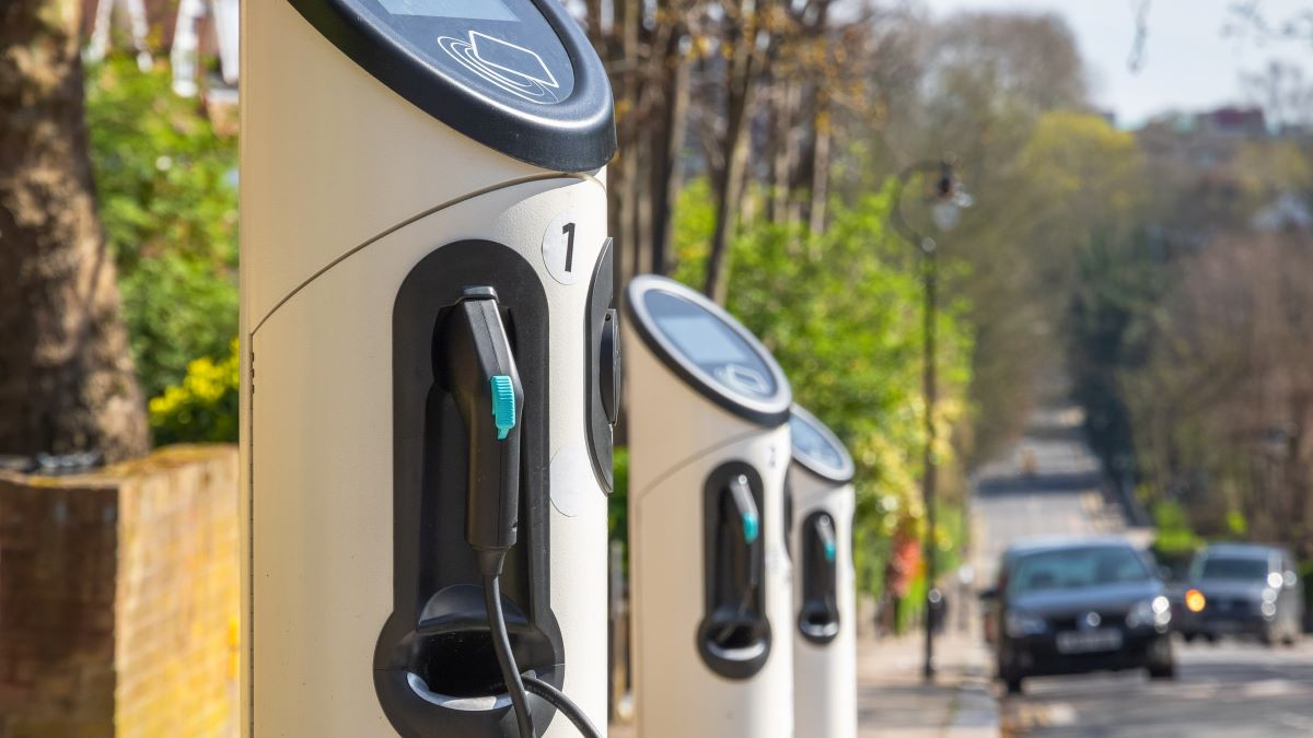row of chargepoints on a residential street