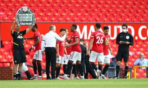 Five players come on for Manchester United in the 80th minute of their match against Sheffield United.