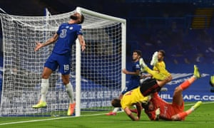 Olivier Giroud of Chelsea reacts after his shot is saved by Watford keeper Ben Foster.