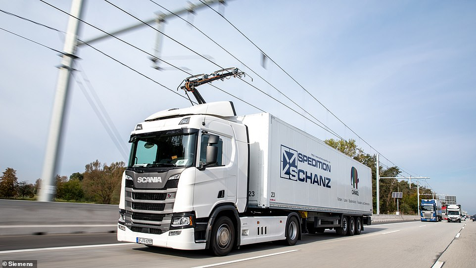 The overhead lines are similar to those used on the rail network and lorries would be able to connect to them using rigs attached to the roof of the cab