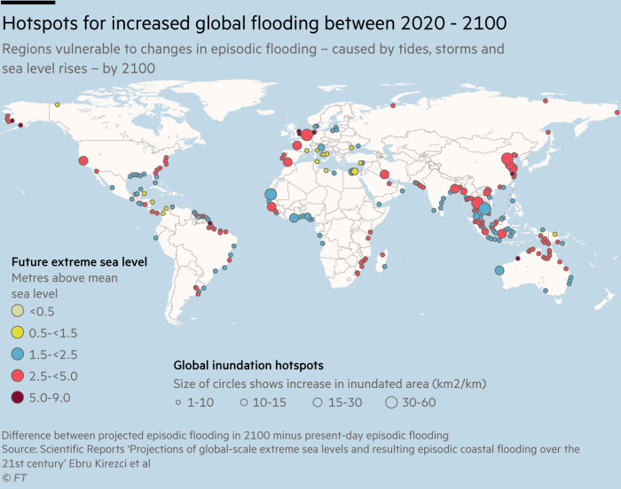 Map showing hotspots for increased global flooding between 2020 and 2100, regions vulnerable to changes in episodic flooding – caused by tides, storms and sea level rises – by 2100