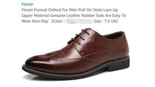 """A brown formal shoe on a white background is seen with floating text above it - describing the shoe in detail, until the heading for """"color"""" - which has been blurred out by the BBC in this image"""