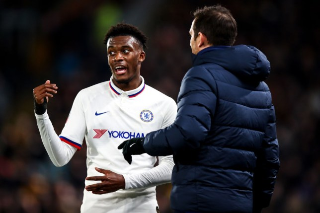 Frank Lampard the head coach / manager of Chelsea and Callum Hudson-Odoi of Chelsea uring the Emirates FA Cup Fourth Round match between Hull City and Chelsea at KCOM Stadium on January 25, 2020 in Hull, England.