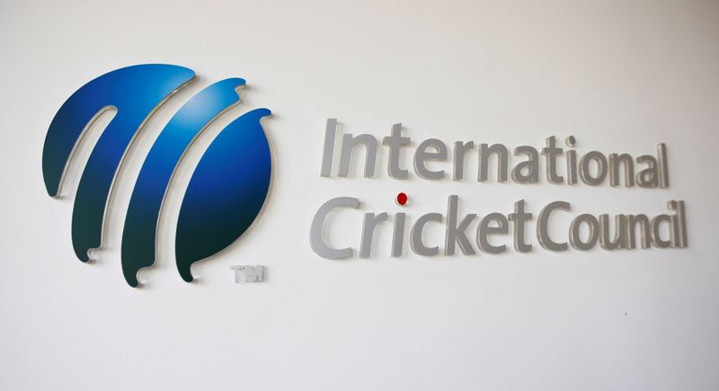 © Reuters. FILE PHOTO: The International Cricket Council (ICC) logo at the ICC headquarters in Dubai