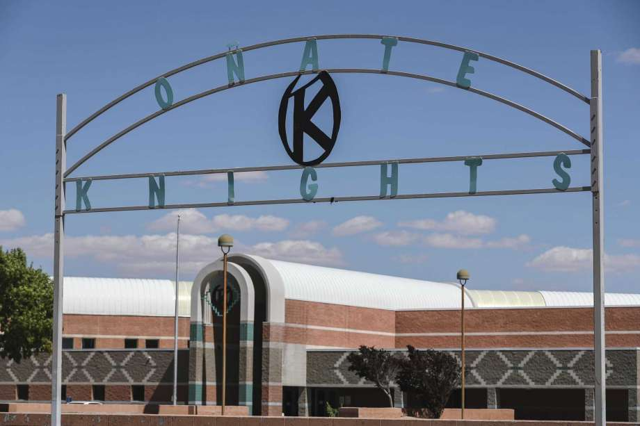 Onate High School is pictured in Las Cruces, New Mexico, on June 17, 2020. The Las Cruces School Board voted Tuesday, July 14, 2020, to drop the name of Don Juan de Onate y Salazar from a high school in southern New Mexico after years of pressure and amid a movement to reexamine the Spanish colonial past in the American Southwest. (Nathan J. Fish/Las Cruces Sun-News via AP) Photo: Nathan J. Fish, AP / Las Cruces Sun-News