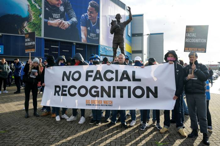 Protesters outside the Cardiff City football ground