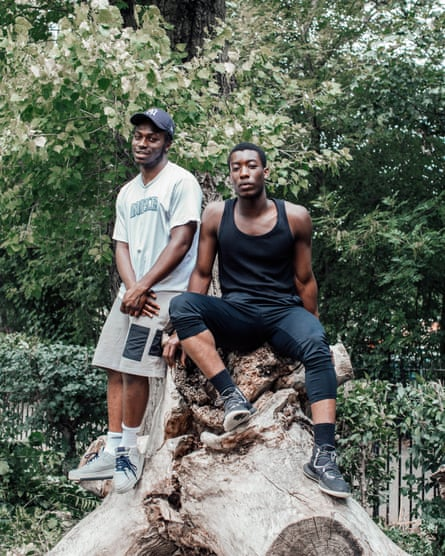 'It's a nice place. We play a lot of basketball here': Leshawn Barrett (left) and Jeffrey Adjei in Springfield Park in Hackney.
