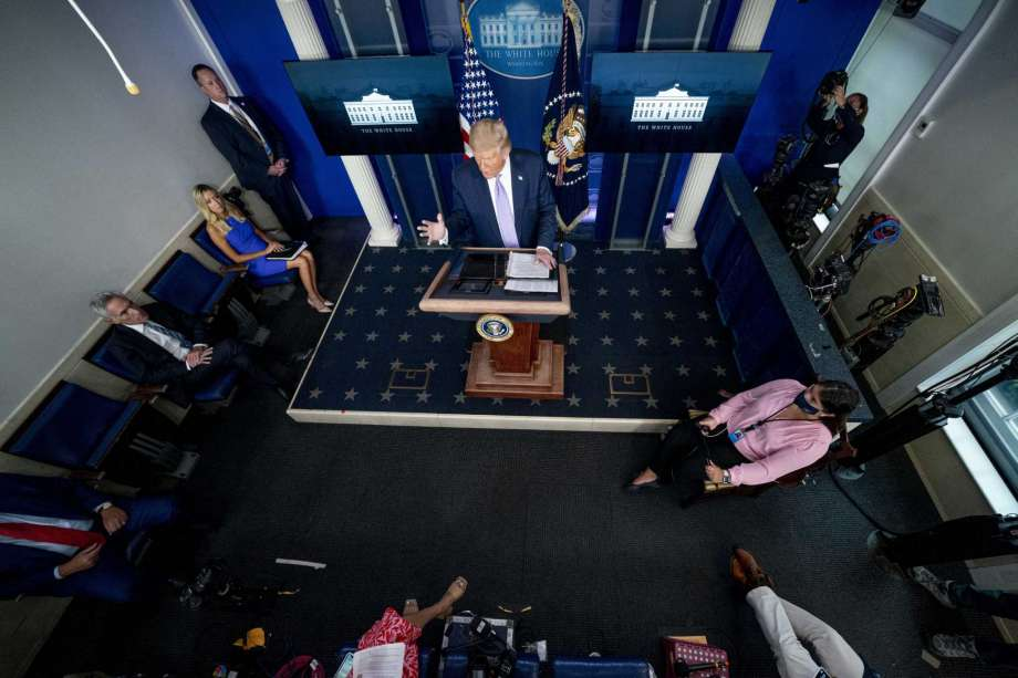 President Donald Trump speaks at a news conference in the James Brady Press Briefing Room at the White House, Thursday, Aug. 13, 2020, in Washington. Photo: Andrew Harnik, AP / Copyright 2020 The Associated Press. All rights reserved