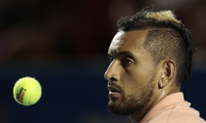 Australia's Nick Kyrgios tosses a ball in the air as he waits to serve, during his first round match against France's Ugo Humbert at the Mexican Tennis Open, in Acapulco, Mexico on 25 February 2020.