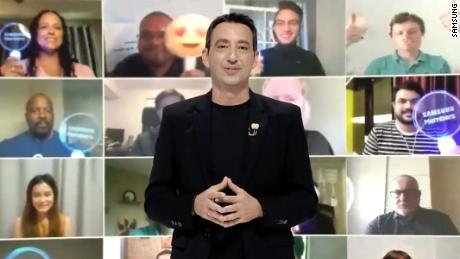 Samsung made dozens of fans part of its live-streamed launch, showing them on a large screen behind host and company executive Federico Castalegno.