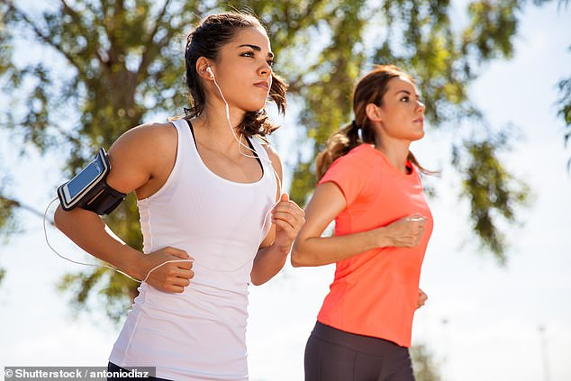 The presence of music blaring into the brain while you push your body to burn off a few calories improves mood and cognitive function, researchers found (stock)