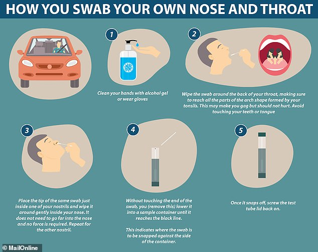 How coronavirus self-tests are conducted: They require the patient to put the swab into the back of their throat and then a short way into their nostril to try and pick up the viruses, which live in the airways
