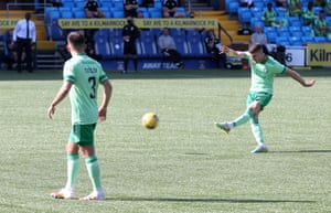 Celtic's Ryan Christie scores from a free-kick.